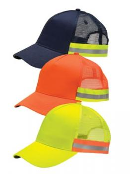 Reflective Safety Caps Mesh Back Hi Viz Safety Wear