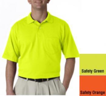 Jerzees safety polo shirt with pocket hi viz safety for Hi vis polo shirts with pocket