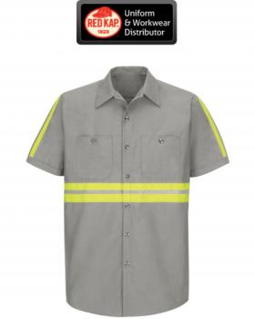 Red kap enhanced visibility short sleeve button down work for Hi vis safety shirts